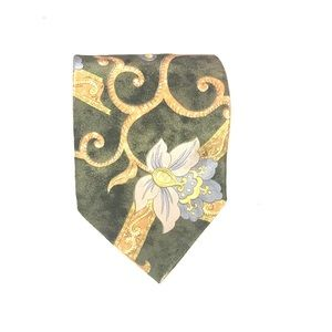 Green floral tie wide width with yellow fabric tie